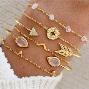 Jewelry - Water Drop Dainty Gold Bracelet Set